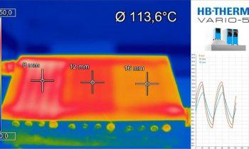 Variotherme Werkzeugtemperierung kennzeichnet die jeweils richtige Werkzeugtemperatur in den jeweils richtigen Zyklusphasen. Diese Infrarotaufnahme entstand an einem Versuchswerkzeug. Zu sehen ist ein Temperaturverlauf an einer Testplatte mit unterschiedlichen Temperierkanalabständen (Bild: HB-Therm).