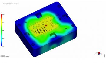 Bild 1: Mittels Finite-Elemente-Methode thermisch simulierter Formeinsatz (Bild: Contura MTC).